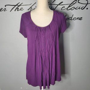 Coldwater Creek Purple Short Sleeve Pleated Top, L